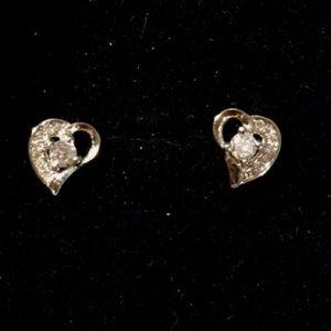 925 Silver Heart Sapphire Earrings Nickel Free